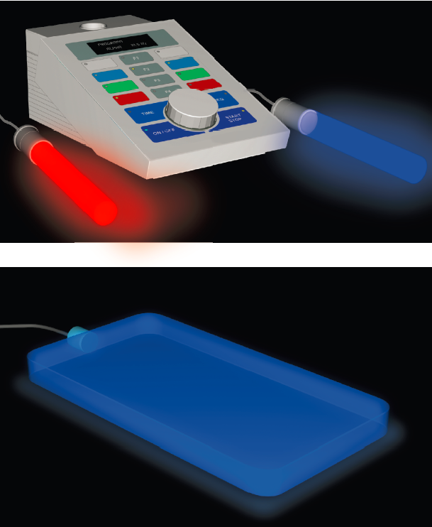 Control unit with conductive glass hand and foot electrodes