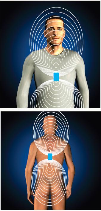 Simulation image of waves impacting the body